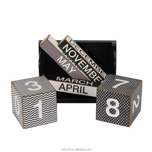 Shabby Chic Wave and Spot Perpetual Desk Calendar Wood Blocks 6.9 x 3.5 x 4.5 Inches