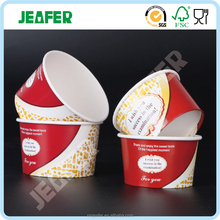 Disposable ice cream paper cup and lid with logo printed