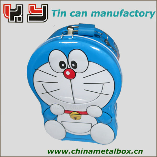 cartoon shape tin coin bank with lock for promotion