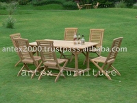 Teak Garden and Outdoor Furniture: Set of Hanton Folding Chair and Rectangular Ext Table