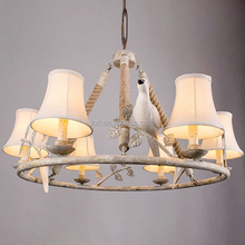 Nordic pastoral hemp rope chandelier linen lampshade droplight wood art pendant lamp with resin bird decoration