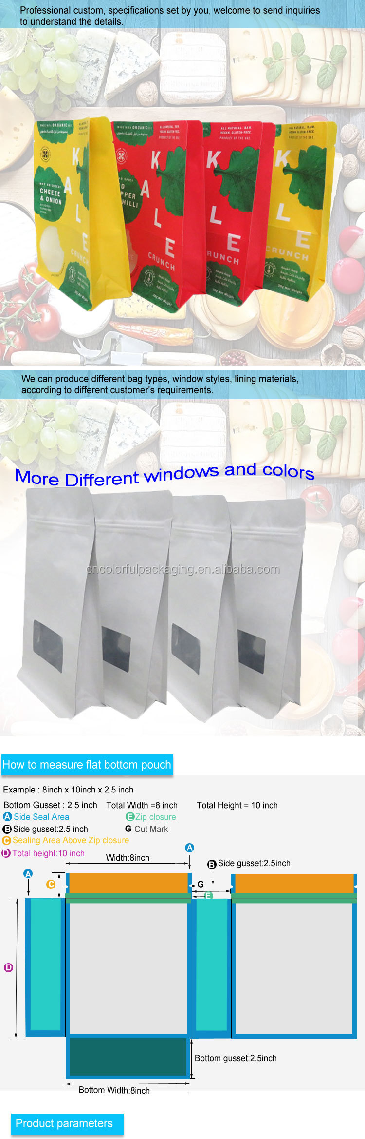 Customized printed flat square bottom kraft paper bags
