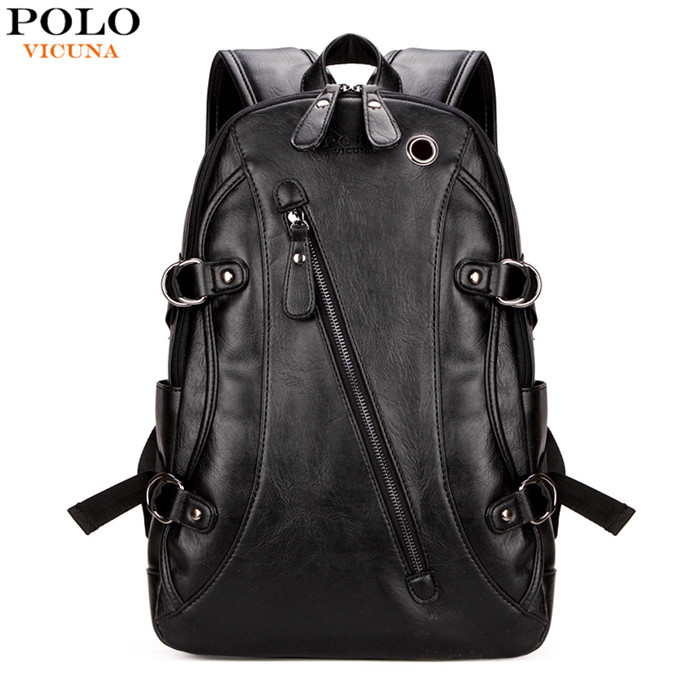 VICUNA POLO Brand Fashion Black V5511 Wholesale Travel Rucksack Cool School Headphone Hole Men Leather Backpack