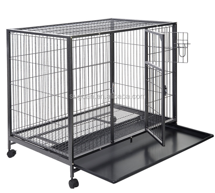 Transport pet dog kennel / heavy duty commercial metal square tube dog cage with wheels