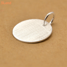 SLand Jewelry factory price wholesale solid 925 sterling silver brushed tag charm pendant DIY round disc for necklace / bracelet
