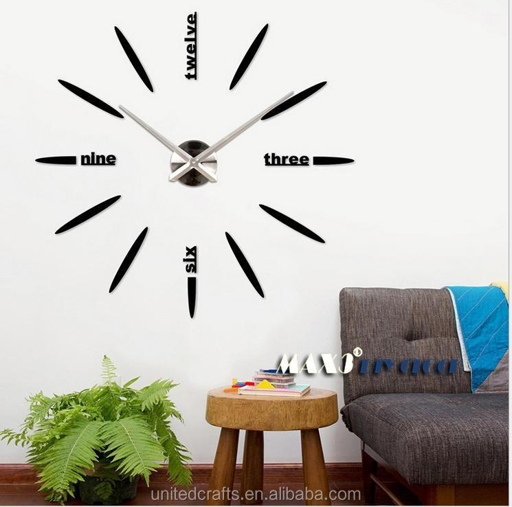 Luxury DIY 3d Wall Clock Home Decoration Mirrors Face Large Art Hours Gifts