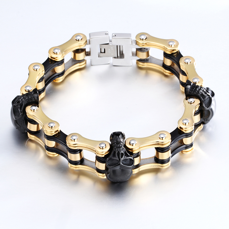2016 new design Skull Bracelets Silver and Gold Bangles for Men Cool