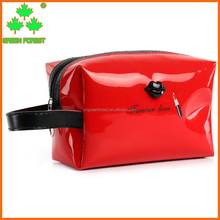 oem patent leather solid lips wristlet cosmetic bag