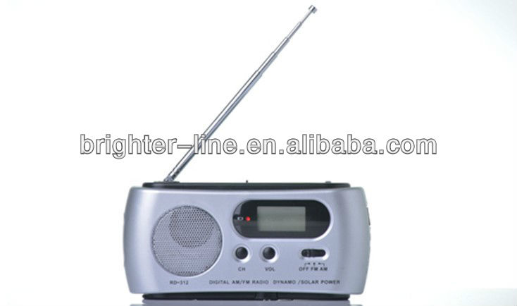 Multi-function Solar Dynamo Powered Radio FM with LED Flashlight