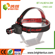 China Output OEM Camping Used Dry Battery Dimmer Portable Aluminum Matal Most Powerful Headlamp 3W EDC Cree helmet flashlight