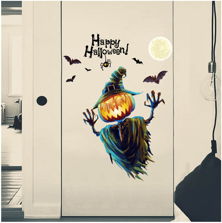 Kids Happy Party Cartoon Halloween Pumpkin Horriable Window Sticker