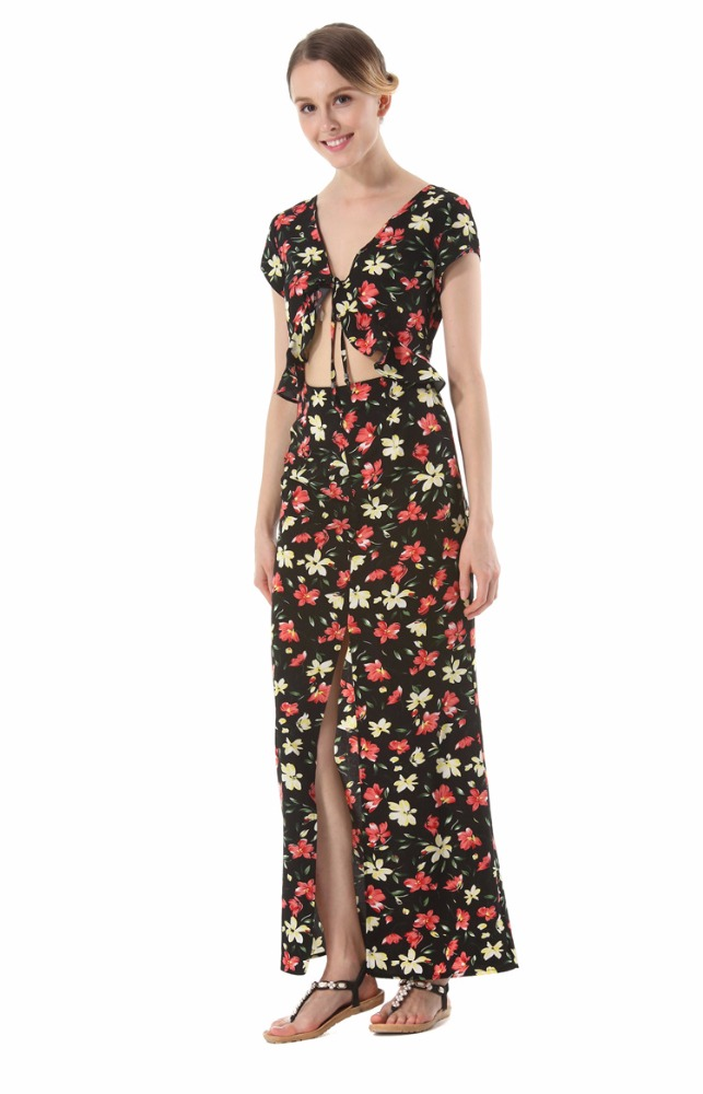 K2431A 2017 Latest Summer Woman Clothing Floral Printed Long Beach Dress Open Sexy Slim Dress For Holidays