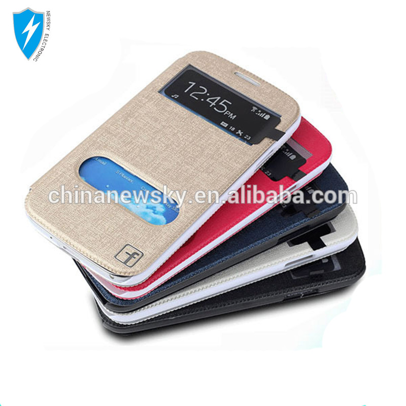 Window View Silk Leather PU Flip Stand Holder For Samsung Galaxy S4 i9500 Smart Phone Case