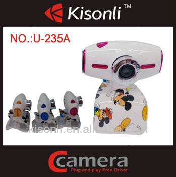 2014 Hot Selling 360 Degree HD Zoom Lens Webcam Cartoon Webcam with Microphone