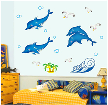Glow In The Dark Anmial Fish Dolphin Undersea World Kids Room Wall Sticker Decoration For Living Room Glow In The Dark Earphone