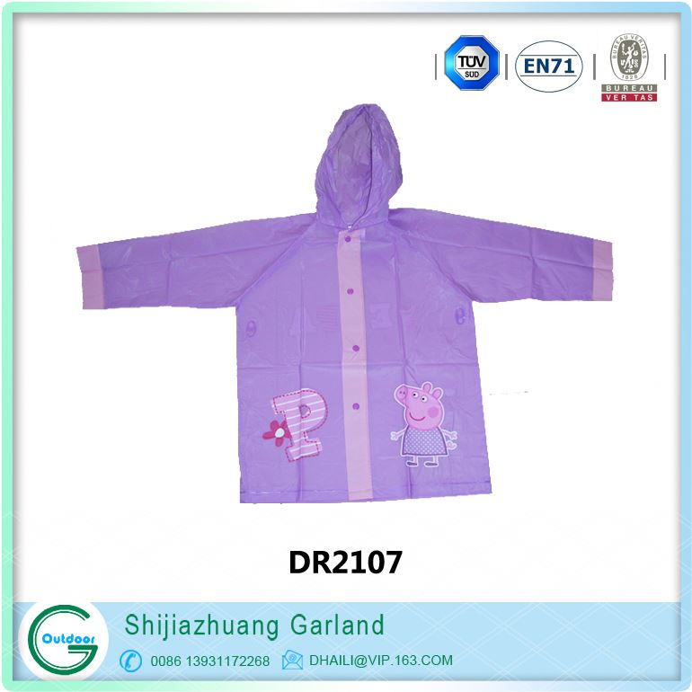 colorful pvc pet pattened children raincoat with hood