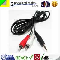 Professional in 3.5mm male stereo jack to 2 female vga cable din a rca