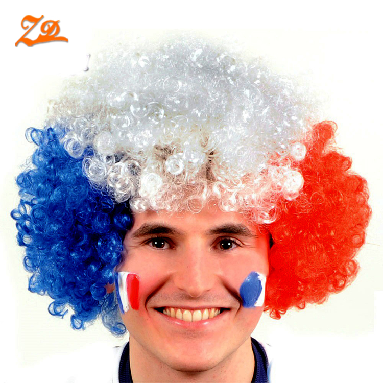 wholesale custom cheering country flag wig football fan wig