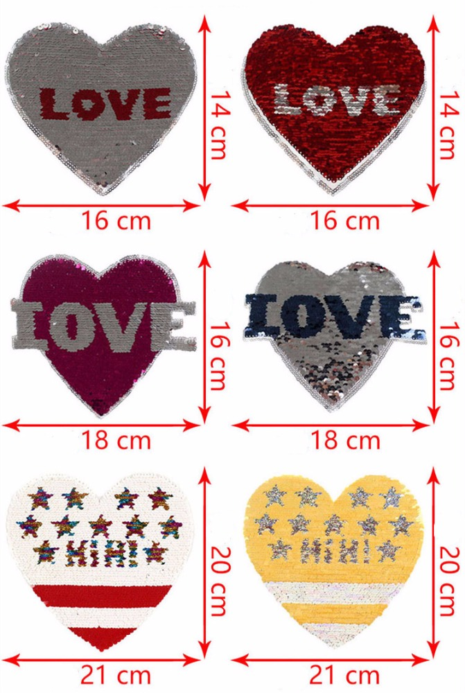 New Reversible Sequins Love Heart Sew On Patch for Clothes DIY Patch