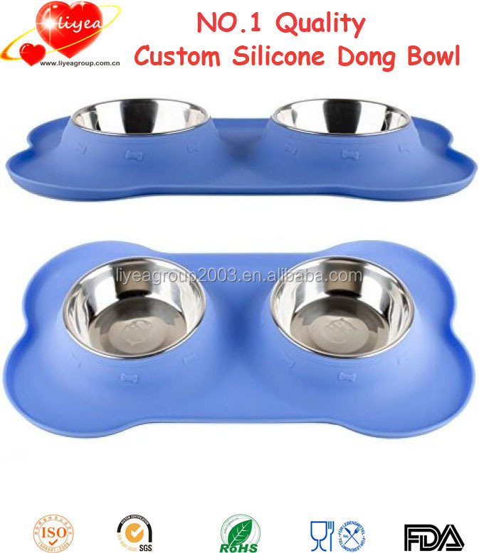 Cat Puppy Feeder Bowl Stainless Steel Pet Dog Bowl Double Dog Bowl with No Spill Non Skid Silicone Mat
