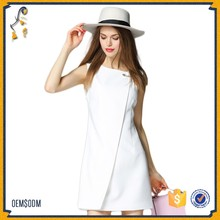 Fashion simplicity latest designs photos Aristocratic wind dress Big pin dress Irregular Slit Mini Dress