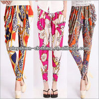 Summer Ladies Korean Fashion Flower Patterns Harem Pants