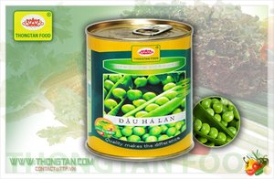 Canned green peas in 3000ml tins