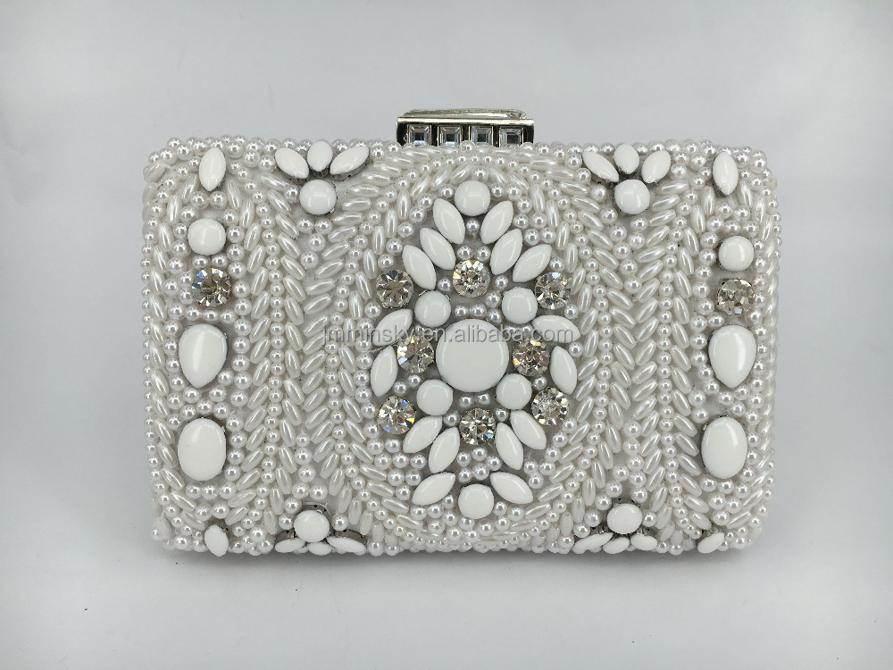 new lady fashion pearl bead clutch bags evening bag