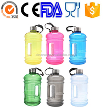 2.3 Liter BPA Free Reusable Plastic Drinking Water Bottle Jug Container w/ Hand Holder Canteen and with Stainless Steel Cap
