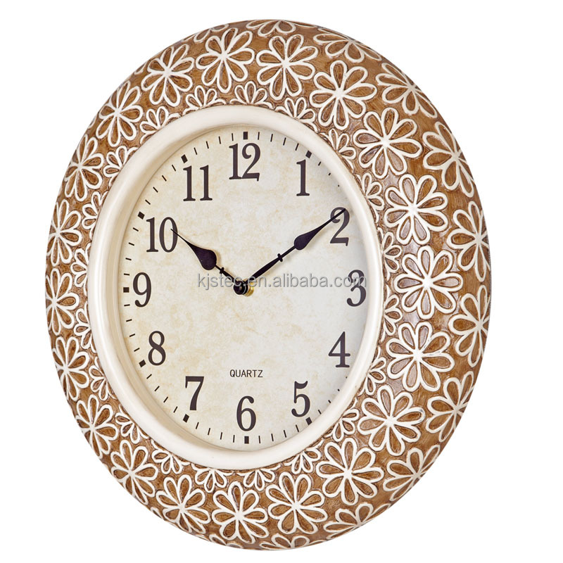 Quartz Analog Home Decor Resin Flower Wall Clock Sweep Movement