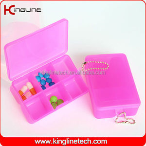 Plastic square pill box for children (KL-9064)