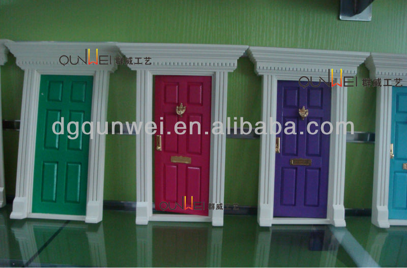 Eco-friendly 1/12 Dollhouse Miniature Furniture Wood Fairy Front 6 Panel Door Wooden