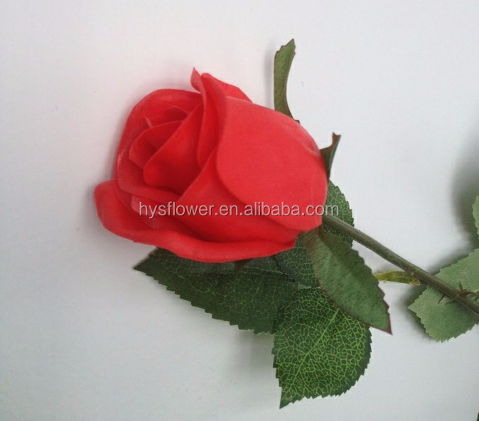 Realistic flowers PU rose bud for party decoration