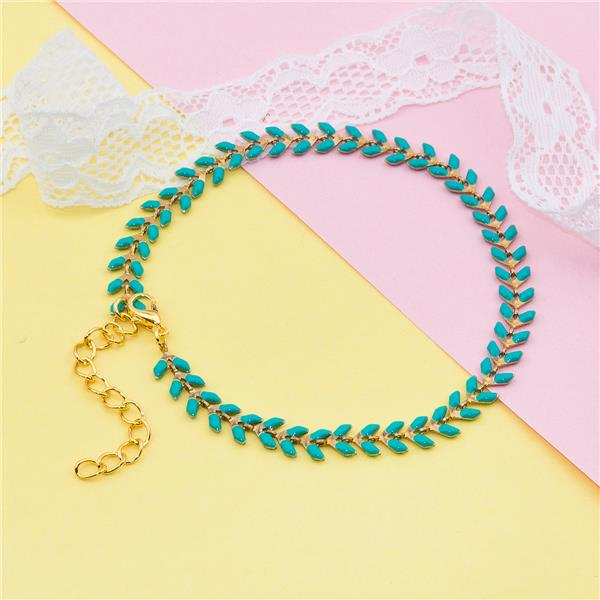 Copper Anklet Spiky Chain Gold Plated Green Enamel Anklets Jewelry