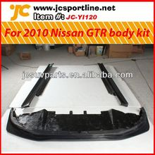 For 2010 up Nissan GTR carbon fiber body kits including front bumper lip and side skirts
