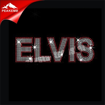 Elvis letters rhinestone bling iron on transfers for t shirts