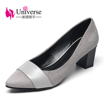 G026 women work shoes concise pointed toe comfortable square heel shoes