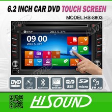 High quality 6.2'' touch screen 2din universal gps blueooth car dvd