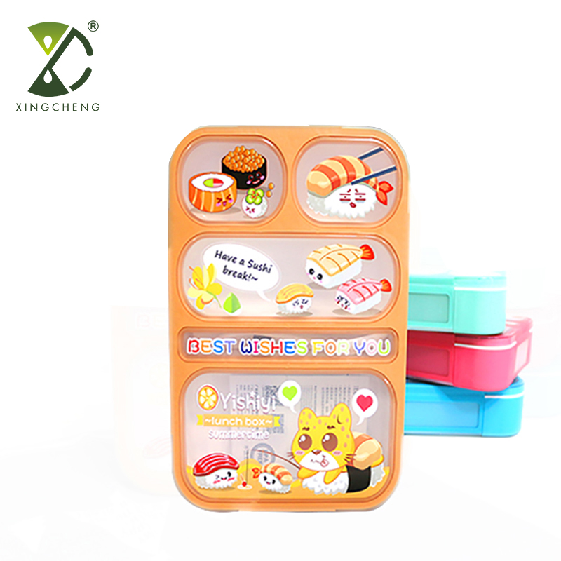 Kids High Quality Leakproof Microwave Plastic Bento Lunch Box with Six Compartments BPA free