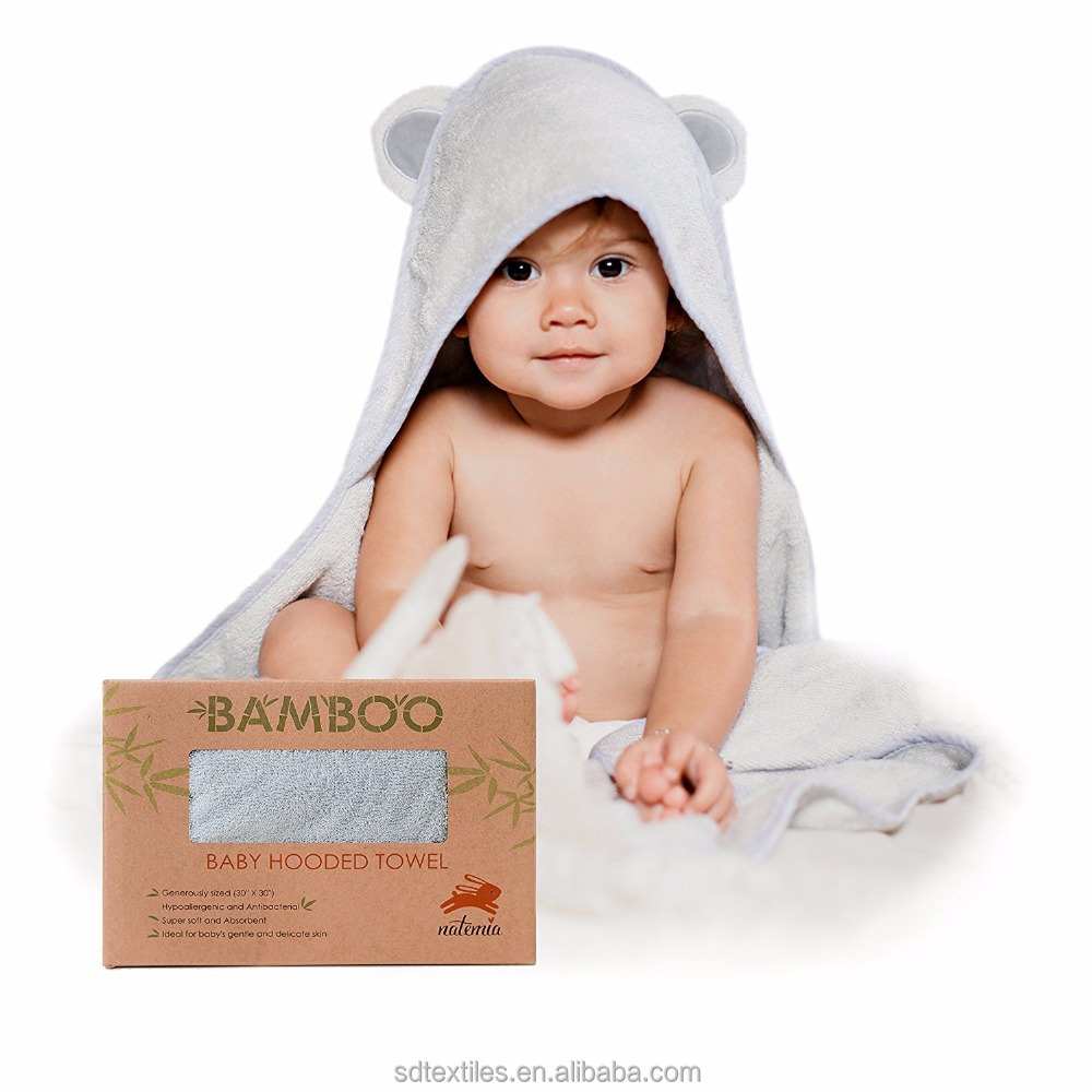Animal Face Hooded Woven Terry organic bamboo baby hooded towel for Sensitive Skin