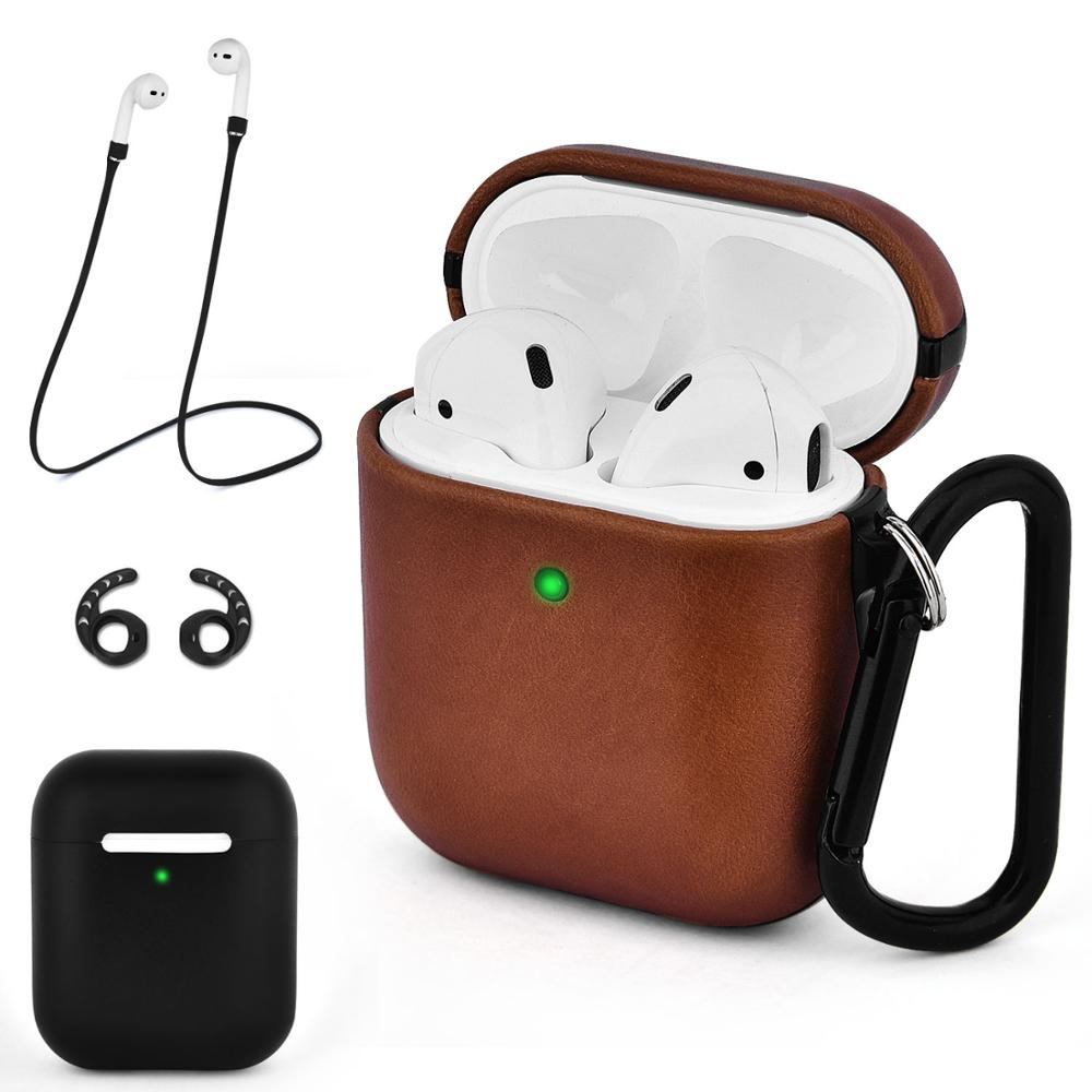 Portable Shockproof Full Protective Genuine Leather Protective Cover Case for Apple AirPods <strong>1</strong> &amp; 2 Wireless Charging Case