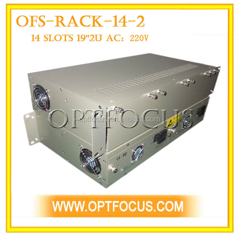 14 Slots 19 inch Media Converter Rack 2U with dual power supply AC220V or DC-48V 19''2U, stand alone