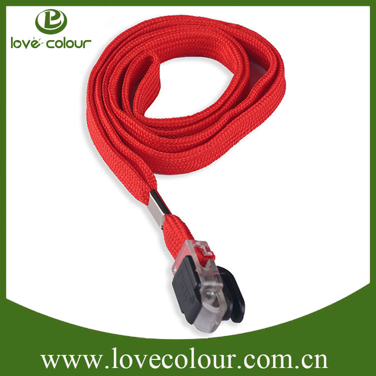 Custom multi color blank polyester tube lanyard with plastic clip