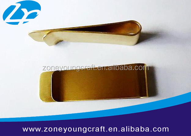 Customized brass folded gold money clip
