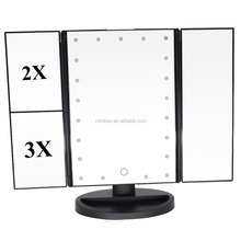 with 4 x AAA Batteries / usb cable Table stand led Magnifer Mirror 22 led 3 folding mirror portable make up mirror touch screen