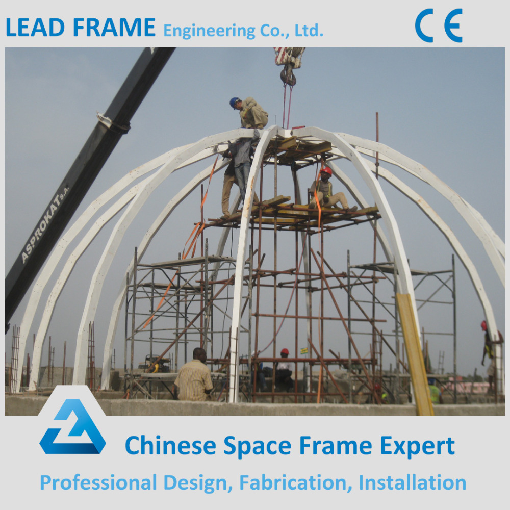 Flexible Modern Design Steel Structure Space Framed Acrylic Dome with Glass Roof
