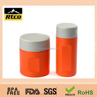 cylindrical plastic canister bottle with TPR cap, food beverage and pharmaceutical