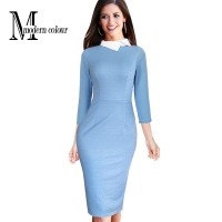 2016 Spring Dress Women Casual Clothing European Style Fashion Elegant Ladies 3/4 Sleeve Bodycon Pencil Knee Length Dresses 1422