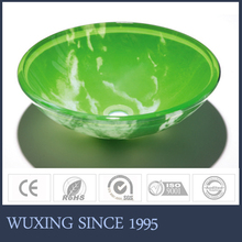 Artistic Painting Printing Never Fade Tempered Glass Green Color Sanitary Ware