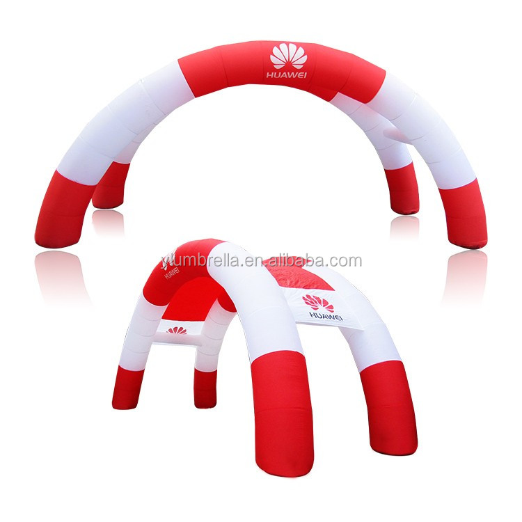 Customized made 12m inflatable double arches with cover for Huawei promotion